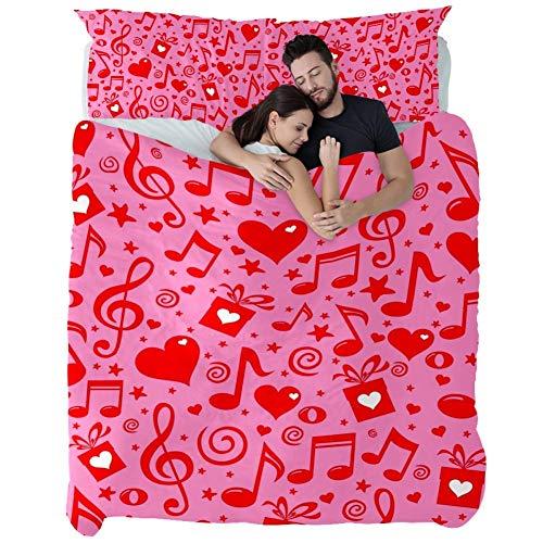 Corazón Caja Regalo Notas Musicales Rosa Roja,Juego de Ropa de Cama con Funda nórdica de Microfibra y 2 Funda de Almohada - 200 x 200 cm