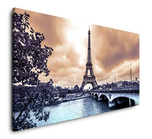 Paul Sinus Art Eiffelturm in Paris 120x 60cm Panorama Leinwand Bild XXL Format Wandbilder Wohnzimmer...