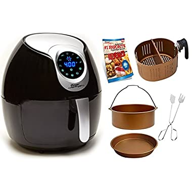 Power Air Fryer XL 5.3 QT Black Deluxe - Turbo Cyclonic Airfryer Include Air-Fryer Accessories Kit With Baking Insert, Pizza Pan And Cooking Tongs