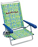 Margaritaville 5-Position Lay Flat Folding Beach Chair - Green Fish