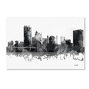 Toledo Ohio Skyline BG-1 by Marlene Watson 22x32-Inch Canvas Wall Art