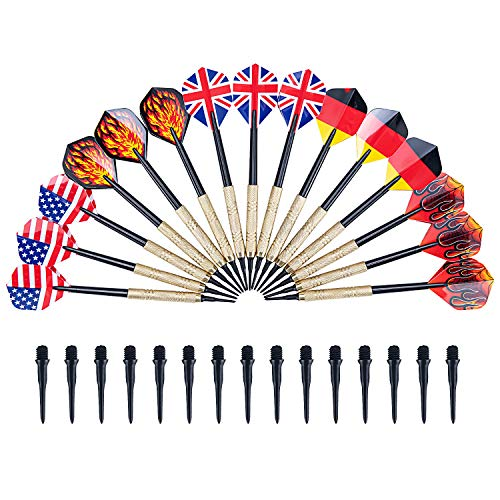 Bligo 15 Stück Dartpfeile Set mit Kunststoffspitze - Das Set enthält 15 Soft Dartspfeile für Elektronische Dartscheibe, 15 Flights 5 Motive und 30 Dartspitzen zum Austauschen, Brass Darts