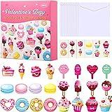 Tarjetas de San Valentín para Niños 40 Juegos con Tarjetas Rasca y Olfatea de Chocolate Fresa, Tatuajes Temporales y Sobres Tarjetas de Felicitación para Escuela Aula Fiesta de Niños
