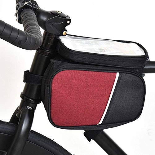 ZHENAO Portátil Gran Capacidad Bici Soporte para Teléfono Bolsa Doble Mobile Phone Holde Bolsa de Teléfono con Pantalla Táctil Bolsa de Marco de Bicicleta Bolsas para Sillines Bolsa