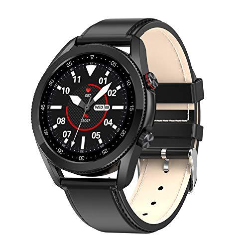 Nobranded Reloj Inteligente L19 IP68 Monitor de presión Arterial Resistente al Agua BT-Call Pulsera de Seguimiento de Actividad Deportiva, Llamadas Bluetooth, - Negro PU