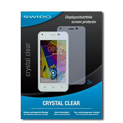 SWIDO Bildschirmschutzfolie für Jiayu F1 [3 Stück] Kristall-Klar, Extrem Kratzfest, Schutz vor Öl, Staub & Kratzer/Glasfolie, Bildschirmschutz, Schutzfolie, Panzerfolie