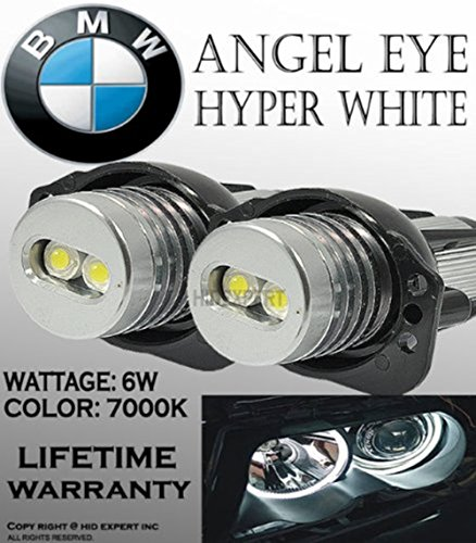 eBoTrade ONE Pair E90, E91,63117161444 BMW Angel EYE Halo Ring LED Bulbs 7k White