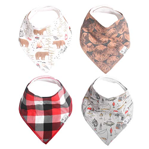 """Baby Bandana Drool Bibs for Drooling and Teething 4 Pack Gift Set """"Lumberjack"""" by Copper Pearl"""