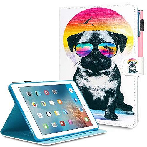 MOKASE iPad Mini Case, Mini 2/3/4/5 Case, Leather Smart Kickstand Case Cover Colorful Flip Wallet Protective Case for iPad Mini 1 2 3 4 5 - Cool Dog