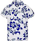 V.H.O. Funky Camisa Hawaiana, Hibiscus, Indigo Azul Blanco, XL