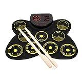 NGHSDO BateríA ElectróNica Set de Tambor electrónico USB Roll Up Drum Pad Kit 9 Drumpads Altavoz Incorporado con un Pedal del pie de la percusión Digital del Pedal Tambor Electronico