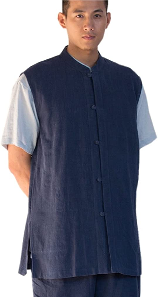 Soldering Today's only ZanYing Chinese Traditional Stand Collar Shirt Vest Blouse Men S