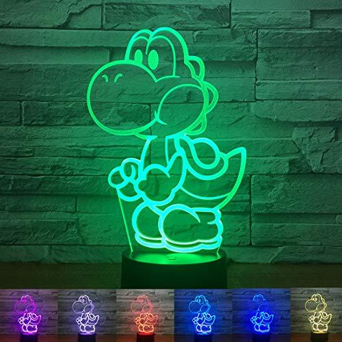 Hnfsliuhao Yoshi Mario 3D Led USB Lamp Cartoon Game Figure Super Acrylic Novelty Christmas Lighting Gift RGB Touch Remote Controller Toys