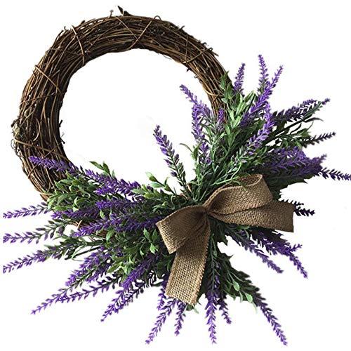 YEES cm Lavender Door Wreath Artificial Lavender Wreath For Front Door Fake Flower Wreath Welcome Door Wreath For Wedding Wall Window Background Home Decor