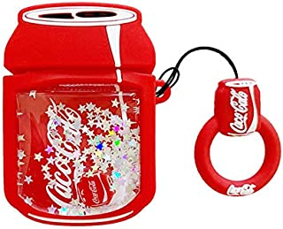 Ultra Thick Soft Silicone Glitter Liquid Flowing Squeeze Cocacola Case with Strap for Apple Airpods 1 2 Air Pods Wireless ...