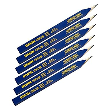 IRWIN Tools STRAIT-LINE 66400 Carpenter's Pencil, Medium Lead, 6-Piece Set (66400)