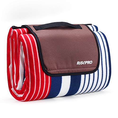 RISEPRO 200 x 200cm Picnic Blanket Mat Extra Large Outdoor Blanket with Waterproof Backing for Camping Park Beach Hiking Family