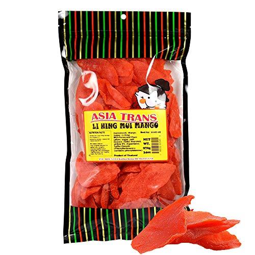 Asia Trans Li Hing Mui Dried Mango | Hawaiian Favorite | Naturally Sweet Dried Fruit Candy with Asian Plum Powder (34 oz)