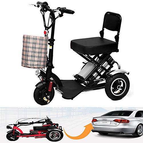 Electric Scooter Mini Triciclo eléctrico Plegable Negro para Adultos/discapacitados Ancianos con batería...