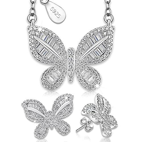 Juego de Joyas de Plata 925 para Mujer, Conjunto de Collar y Pendientes con Mariposas, Regalo para mujer