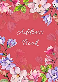Address Book: A4 Big Contact Notebook Organizer | A-Z Alphabetical Sections | Large Print | Magnolia Wildflower Watercolor Design Red