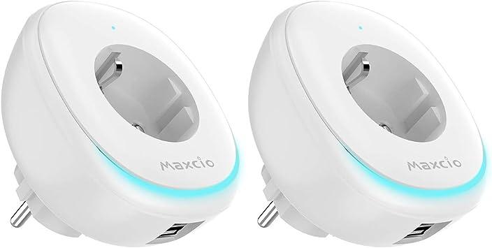 Enchufe Inteligente WiFi, Maxcio Enchufe Inteligente con Puerto USB y Lámpara LED, Compatible con Alexa, Google Home, Control de APP y Función de Temporizador, No Requiere Hub (2-Packs)