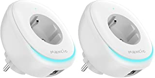 Enchufe Inteligente WiFi Maxcio Enchufe Inteligente con Puerto USB y Lámpara LED Compatible con Alexa Google Home Control de APP y Función de Temporizador No Requiere Hub (2-Packs)