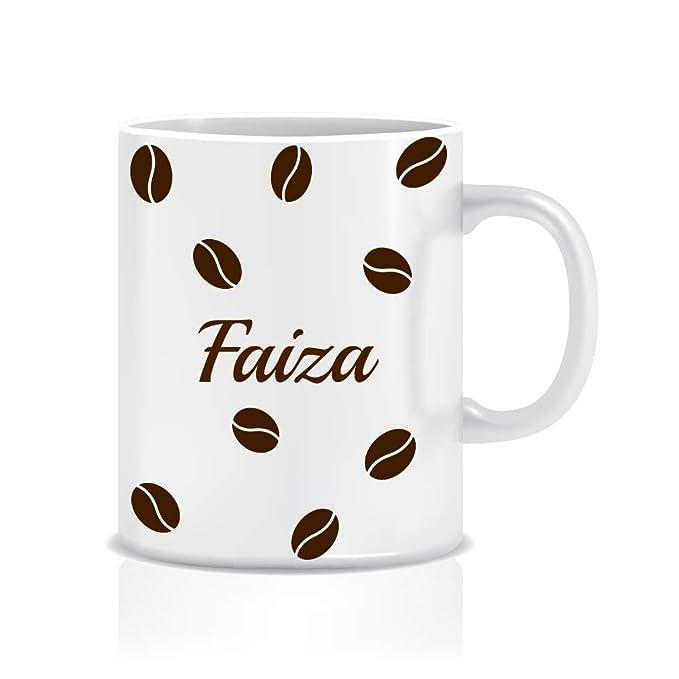 WeChitr Coffee Mug for Faiza Personalised Name Ceramic, 350ml, 1 Unit