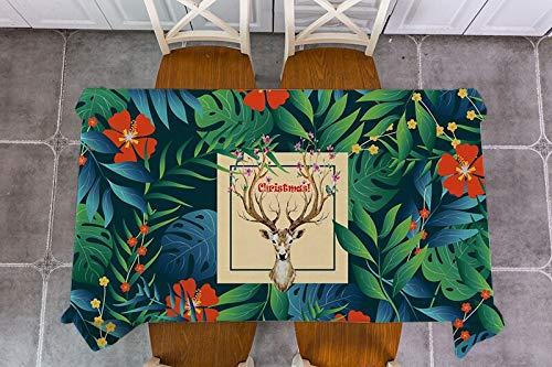 XXDD Alce navideño Papá Noel Mantel de Hojas de Plantas de Lino de algodón Mantel Rectangular Cubierta de Mesa de Comedor para decoración de Cocina A6 135x135cm
