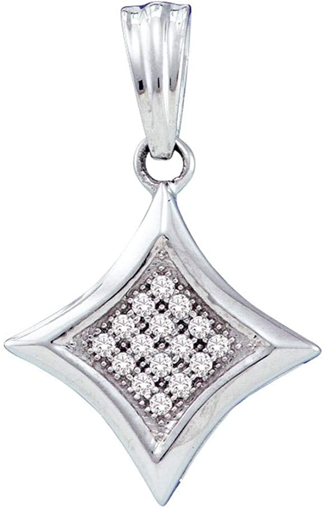 10kt White Gold Womens Round Diamond Attention brand Square Diagonal Cluste Kite Be super welcome