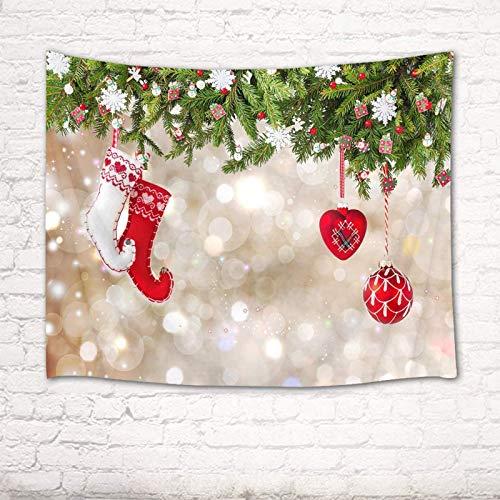 Árbol de Navidad Abeto Calcetín de Navidad Tapiz de fondo Año nuevo Decoración de la pared del hogar Tapices para sala de estar Dormitorio Dormitorio Decoración de fiesta Banner