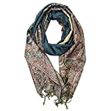 Silver Fever Pashmina - Jacquard Paisley Shawl - Stylish Scarf - Double Sided Wrap (Teal Floral)