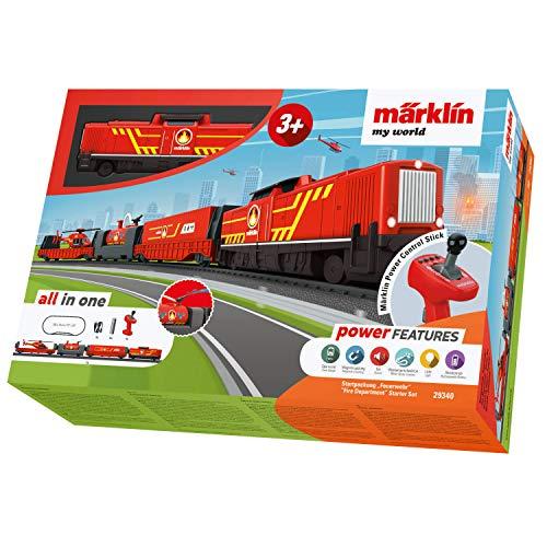 Märklin 29340 my world ‐ Startpackung Feuerwehr, Modelleisenbahn für Kinder ab 3 Jahre, Licht- und Soundeffekte, mit Hubschrauber, akkubetrieben, Spur H0
