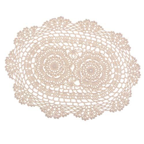 FLAMEER Oval Beige Häkeln Baumwolle Spitzendeckchen Tischsets Tasse Matte