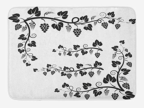 EJjheadband Vine Bath Mat, Black And White Grapes And Twigs with Vines And Swirls Agriculture Botany Elements, Plush Bathroom Decor Mat with Non Slip Backing, 29.5 W X 17.5 W Inches, Black White