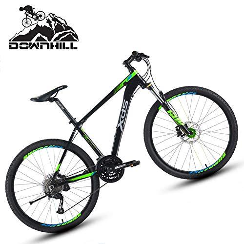 NENGGE Adulto Bicicleta Montaña 26 Pulgadas 27 Velocidades, Portátil Suspensión Hard Tail Bicicleta para Hombre Mujer, Freno de Disco Hidráulico Ciclismo MTB, Cuadro Aleación Aluminio,Black Green,A