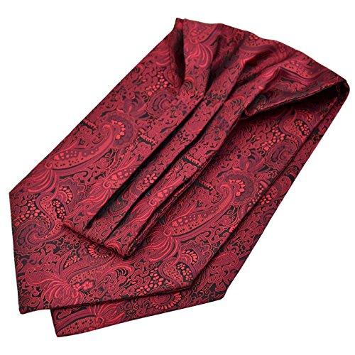 Panegy Herren Krawattenschal Ascotkrawatte Schal Fashion Gentleman Cravat Ties - Dunkelrot