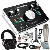 "M-Audio M-Track 2X2M USB Audio Interface with MIDI I/O and Platinum Studio Bundle w/Studio Condenser Mic + Mixing Headphones + 28"" Mic Boom Arm+ Shock Mount + More"