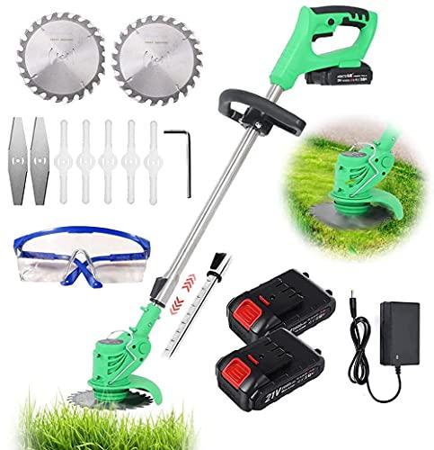 YUEWXTER Rasentrimmer mit Akku und Ladegerät, 21V Akku mit Messer Motorsense Elektro 650W, 90-120cm Teleskopstiel, für Rasenpflege, Auffahrt und Garten, 2 Batterie