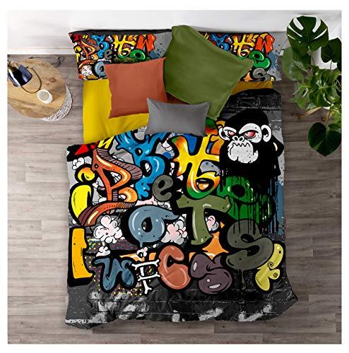 Loussiesd Straße Graffiti Bettwäsche Set 155x220cm + 80x80cm Hiphop Stil Sreet Art Design Bettbezug Weiche Mikrofaser Betten Set mit Reißverschluss -Bunt