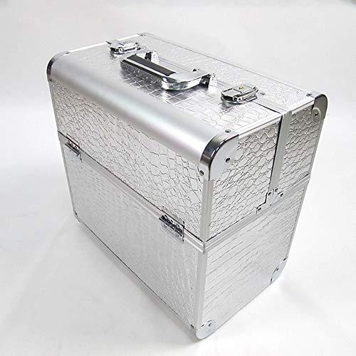 Boîte Maquillage Malette De Beauty Case Valise Cosmétique Artistes De Coiffure Coffret Rangement Trousse Vanity Portable Convient Pour N'importe Où (Couleur Optionnelle),Silver,36.5 * 35.5 * 22.5cm