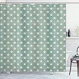 ABAKUHAUS Duschvorhang, Blaugrüner Minimalistischer Design Weißen Sternen Motiv als Geometrischer Digital Druck, Blickdicht aus Stoff inkl. 12 Ringe für Das Badezimmer Waschbar, 175 X 200 cm