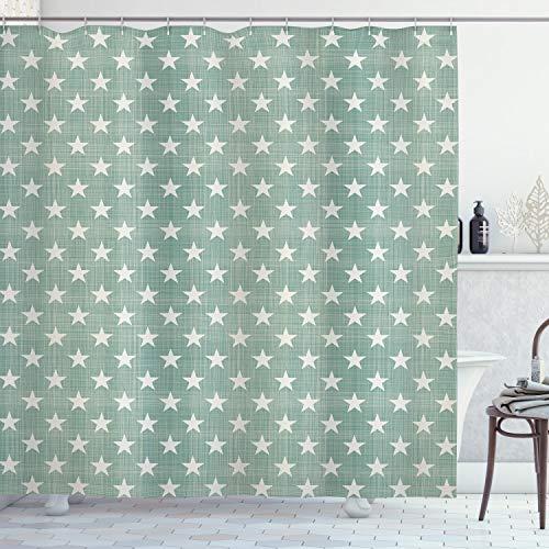 ABAKUHAUS Moderno Cortina de Baño, Estilo clásico Estrellas, Material Resistente al Agua Durable Estampa Digital, 175 x 200 cm, Gris Verde
