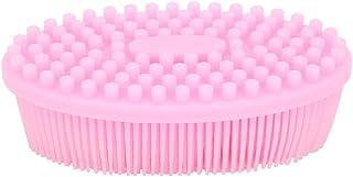 فرشاة تدليك من السيليكون، مدلك فروة الرأس آمن على البشرة، مناسبة للأطفال البالغين (الوردي)