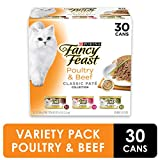 Purina Fancy Feast Grain Free Pate Wet Cat Food Variety Pack, Poultry & Beef Collection - (30) 3 ounce Cans