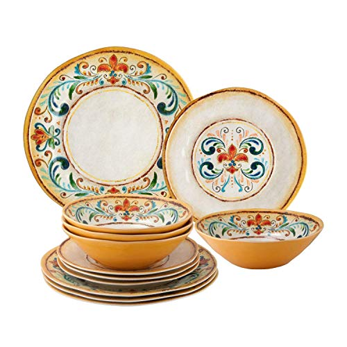 UPware 12-Piece Melamine Dinnerware Set, Includes Dinner Plates, Salad Plates, Bowls, Service for 4. (Tuscany)
