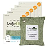 MOSO NATURAL: The Original Air Purifying Bag. for Cars, Closets, Bathrooms, Pet Areas. an Unscented, Chemical-Free Odor Eliminator. 200g 5 Pack (Green)