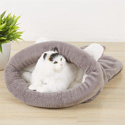 CAMAL Katzenbett, Weiche Waschbare Haustier-Schlafsäcke für Katze und Hund (Groß, Grau)