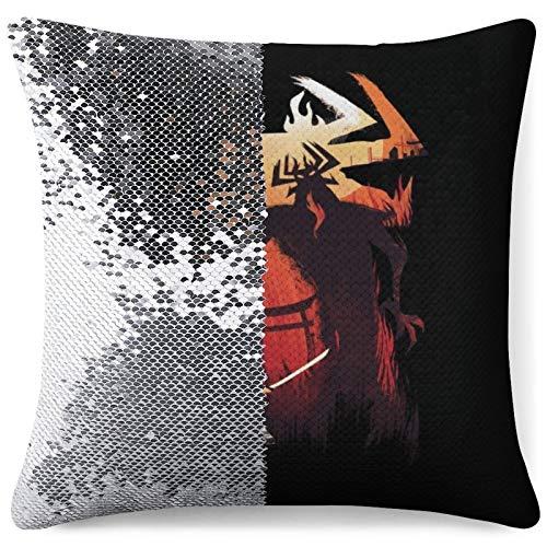MENGQ Samurai Jack Katana Fight Sequined Pillowcase, Decorative Flashing Pillowcase, Used for Home Decoration Sofa Throwing Cushion Cover.