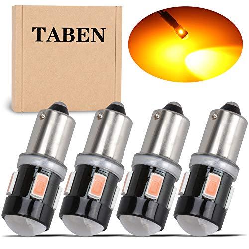 TABEN 4 Uds T4W BA9S Bombilla LED de Aluminio Lente de proyector luz de cortesía de Puerta Lateral Interior de Coche 6 SMD 5630 lámpara de estacionamiento LED ámbar 12V